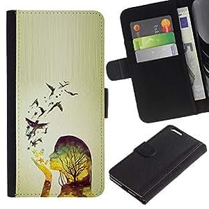 For Apple (5.5 inches!!!) iPhone 6+ Plus / 6S+ Plus Case , Spring Birds Woman Girl Relief - la tarjeta de Crédito Slots PU Funda de cuero Monedero caso cubierta de piel