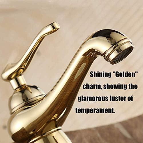 水タップすべての銅のホットとコールドの蛇口の金の浴室用キャビネットの浴室の洗面器の蛇口の単一の穴の蛇口コンチネンタル実用キッチン浴室用品キッチン浴室用品