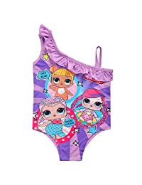 MERLI Surprise Little Girls One Piece Doll Print Ruffle Swimwear Bathing Suit for Doll Surprised