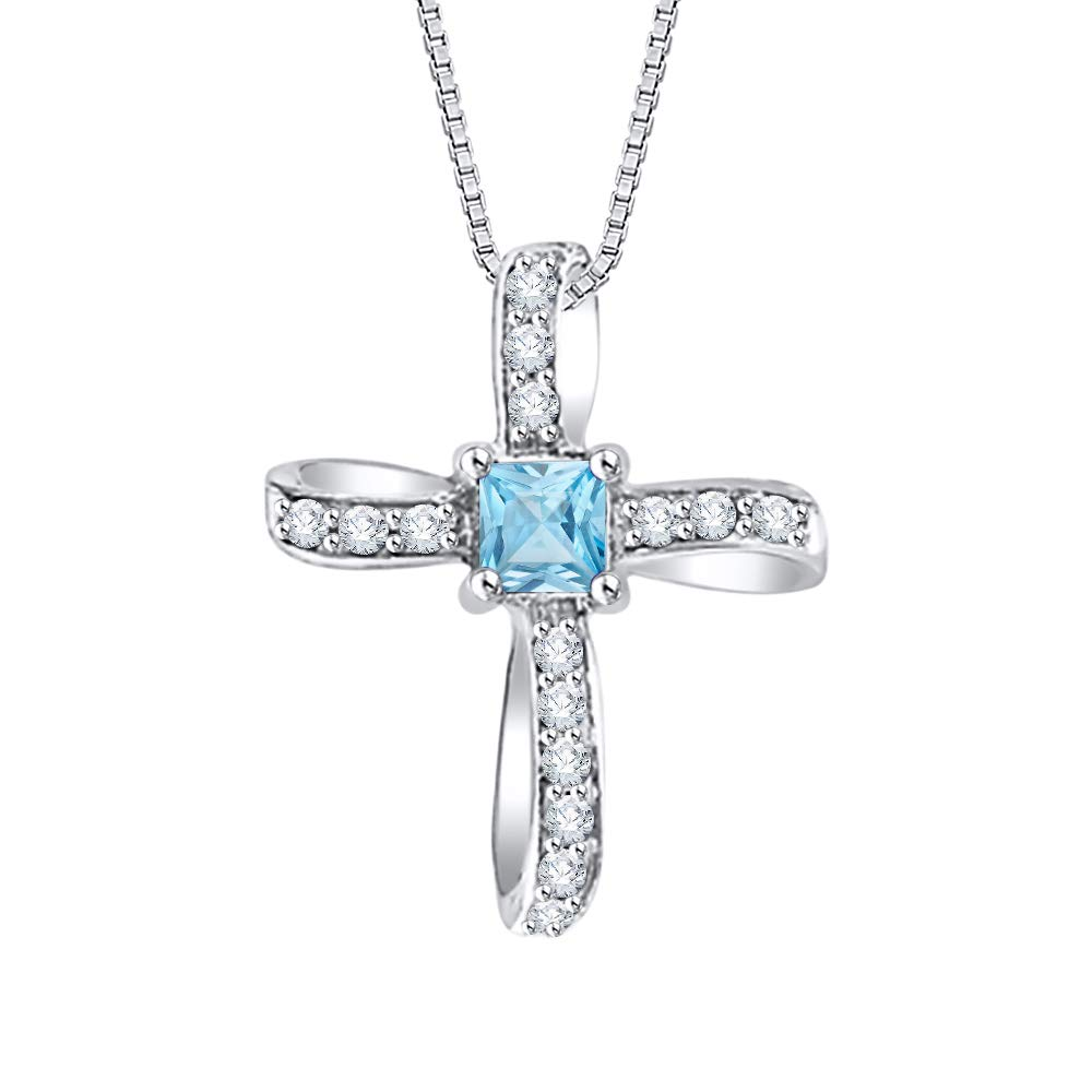 1//2 cttw, I-J, I1-I2 KATARINA Princess Cut Blue Topaz and Diamond Crucifix Pendant Necklace in Gold or Silver