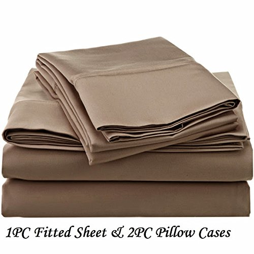 """Ethereal Bedding 1200-Thread-Count Egyptian Cotton Super Soft Extra Deep Pocket 3-Pieces (Fitted Sheet + Pillowcases) Three Quarter/ Small Double/ Antique Solid Taupe Fit Up to 10"""" inches Deep Pocket Fully Elastic All Around"""