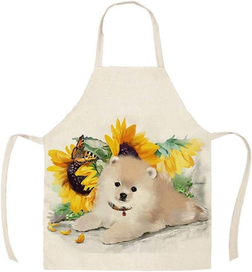 Alta calidad 1pcs delantal de cocina Animales gato linda del caballo de perros impresos de algodón sin mangas de lino Delantales for las mujeres del hogar Limpieza Tools55 * 68c delantales
