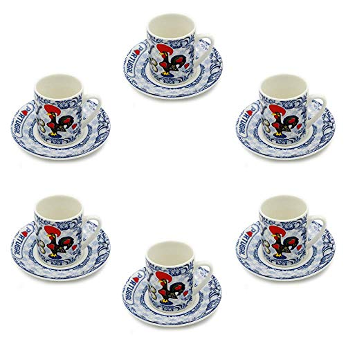 - Set Of 6 Portuguese Rooster Espresso Cups and Saucers - 2 Colors Available (Blue)