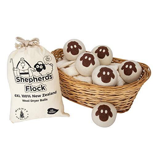 Wool Dryer Balls Handmade from All Organic New Zealand Wool - Reusable - Baby Safe - Non Toxic - Reduce Wrinkles - Saves Time and Money]()
