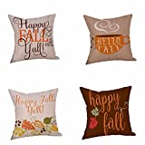 "Halloween Pillow Cover, Efaster ""Happy Fall Yall"" Halloween Pillow Cases Home Linen Sofa Cushion Decoration Square 45 x 45cm 18 x 18inch (Multi A)"