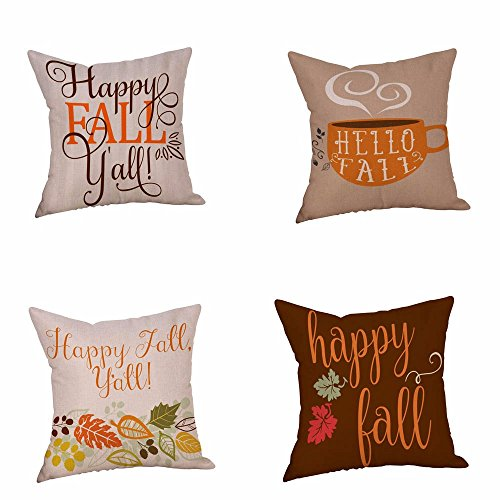 """Seasonal Pillow Cover, Efaster """"Happy Fall Yall"""" Seasonal Pillow Cases Home Linen Sofa Cushion Decoration Square 45 x 45cm 18 x 18inch (Multi A)"""