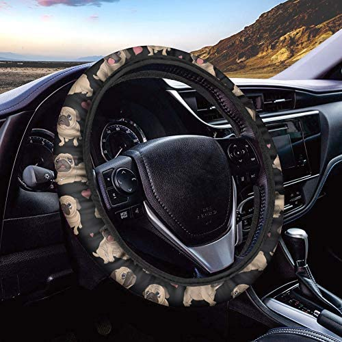 Showudesigns Neoprene Steering Wheel Cover Pug Dog Print Anti Slip Soft 15 inch Universal Steering Wheel Covers Wrap Around Ethnic Mesh Car Interior Accessories - Black