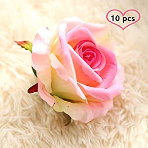 "Artificial Fake Flowers Silk 4"" 2.2"" Big Roses Heads Flower Arrangements Real Touch Flannel Wedding Decorations Floral Table Centerpieces for Home Kitchen Garden Party Décor (10 PCS, Pink) 2"