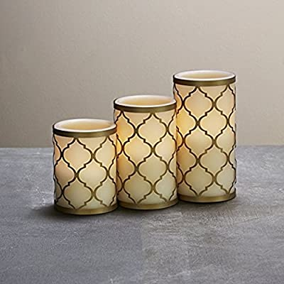 Set of 3 Flameless Ivory Candles and with Brass Holders