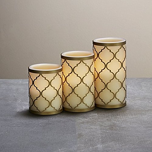 Set-of-3-Flameless-Ivory-Candles-and-with-Brass-Holders