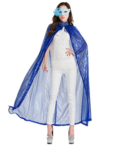 Devil In A Blue Dress Costume Ideas (OVOV Women's Cloak Goddess Princess Cape Long Sequined Robe Halloween Costume Fancy Dress Blue)