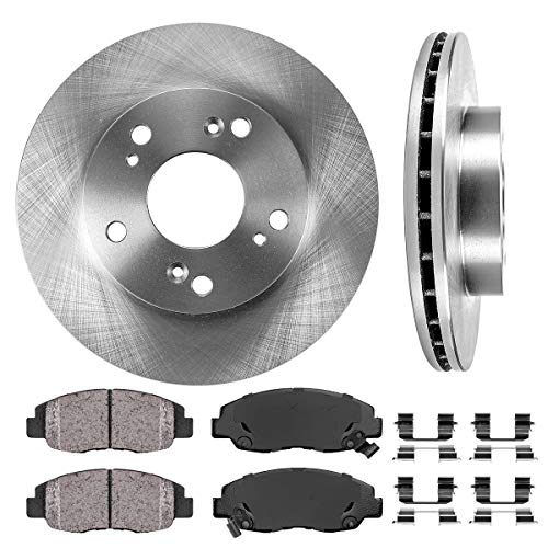 [ DX/LX/EX ] FRONT 261.6 mm Premium OE 5 Lug [2] Brake Disc Rotors + [4] Ceramic Brake Pads + Clips