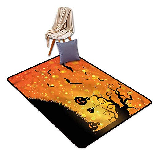 Collection Area Rug,Halloween Fantasy Evil Night Icons,Anti-Static, Water-Repellent -