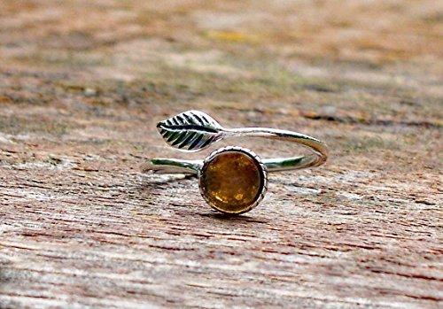 Recycled Vintage Amber Clorox Jug Sterling Silver Adjustable Botanical Leaf Ring (Design Jug)