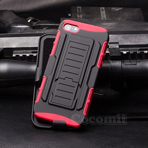 iPhone SE / 5S / 5 Case, Cocomii Robot Armor NEW [Heavy Duty] Premium Belt Clip Holster Kickstand Shockproof Hard Bumper Shell [Military Defender] Full Body Dual Layer Rugged Cover Apple (Red)