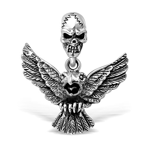 Eagle Charm Silver Sterling Solid (WithLoveSilver Solid Sterling Silver Skull and Eagle Bird Pendant)