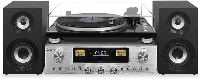 Vitrola Toca discos Retro Vintage Receiver Cd NFC Fm Bluetooth Usb Raveo Concert One Vinil Reproduz e Grava 80W por Raveo