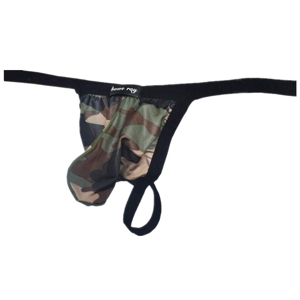 BHYDRY Men Camouflage Thong Underwear Sexy Comfortable Breathable Underpant Spandex Panties