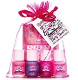 Piggy Paint [5 Pack Gift Set] Non-toxic Girls Nail Polish Kit with 4 Colors (.25 oz Minis) + Stickers