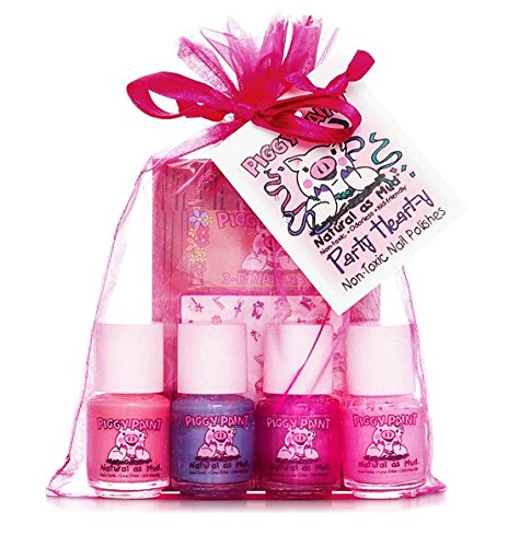 Piggy Paint Non-Toxic Nail Polish for Kids, Party Heart-Y Gift Set/Light Pink, Turquoise Blue, Purple Shimmer, 0.25 Fluid Ounce