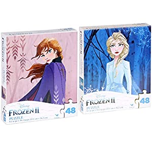 Bundle Set of 2 Disney Frozen 2 48 Pieces Jigsaw Puzzle (10 x 9 inches), Elsa and Anna