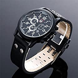 Shalleen Black Military Leather Waterproof Date Quartz Analog Army Men's Quartz Wrist Watches