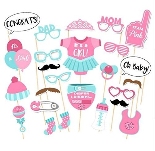 25 Pieces Boy Baby Shower Party Photo Booth Props Kits on Sticks - 7