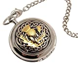 Solid pewter fronted mechanical skeleton pocket watch Two Tone celtic knot with thistle design 60