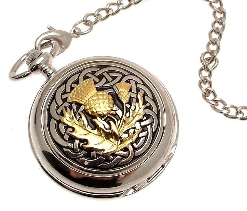 Solid pewter fronted mechanical skeleton pocket watch Two Tone celtic knot with thistle design (Celtic Design Watch)