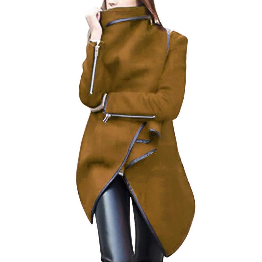 Clearance Christmas COPPEN Women irregular Bow Zippers Sleeve Long Warm Coat Wool Jacket Parka Windbreaker COOPEN