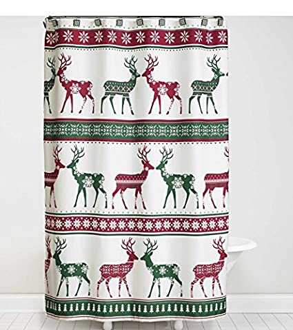 Bath Lodge Cabin Nordic Xmas Winter Reindeer Snowflake Shower Curtain Hook Set