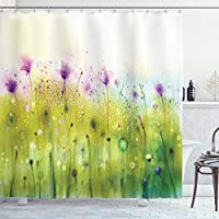 Ambesonne Watercolor Shower Curtain, Abstract Blurred View of Purple Cosmos Flowers Blooming Meadow, Cloth Fabric Bathroom Decor Set with Hooks