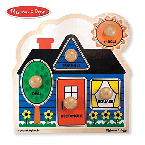 - Melissa & Doug First Shapes Jumbo Knob Puzzle (Colorful Artwork, Extra-Thick Wooden Construction, 5 Pieces, 15.5″ H × 11.2″ W × 1.6″ L)