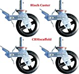 Set of 4 RK Scaffold 8''x2'' Black Rubber Mold-on Steel Caster Wheel with Brake
