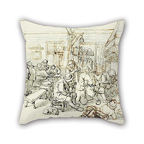 (18 X 18 Inches / 45 By 45 Cm Oil Painting Adriaen Van Ostade - Company Of Peasants In A Tavern, C. 1670-1679 Pillow Shams 2 Sides Ornament And Gift)