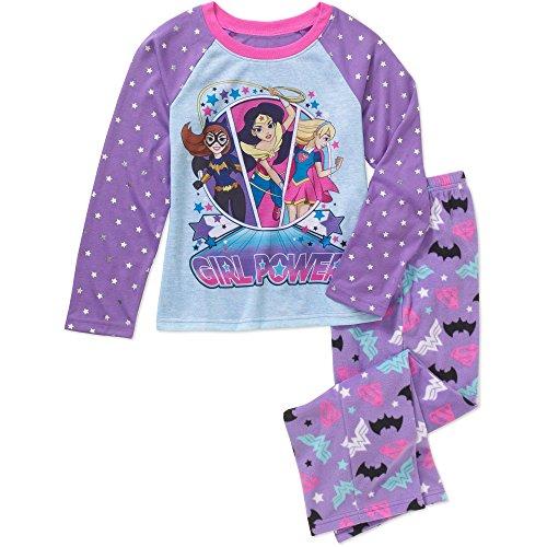 DC Comics Big Girls 2 Piece Long Sleeve Pajama Set (Medium (Girls Of Dc Comics)