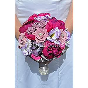 Gorgeous Artificial Silk Pink Peony, Lisianthus and Rose Bridesmaid Bouquet with Anemones 6