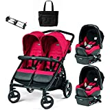 Peg Perego - Book for Two Mod Red Double Stroller Twin Travel System with Diaper Bag