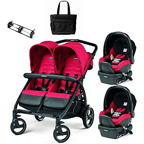 Peg Perego - Book for Two Mod Red Double Stroller Twin Travel System with Diaper Bag by Peg Perego