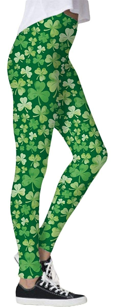 a538320fd8a19 Spadehill Women's St. Patrick's Day Irish Green Clover Stretchy Leggings at  Amazon Women's Clothing store: