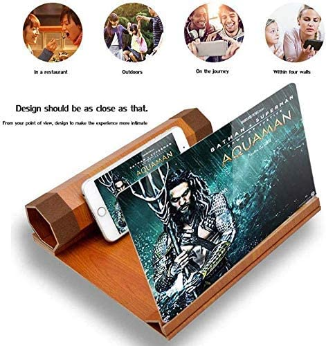 Portable 12rsquo;rsquo; Screen Magnifier for Smartphone,3D Phone Screen Magnifier Amplifier Enlarger,Foldable Smart Phone Screen Amplifier Projector Movie Video Enlarger Wooden Phone Holder
