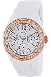 GUESS W0062L6,Women's All White,Rose Gold-Tone Bezel,50m WR