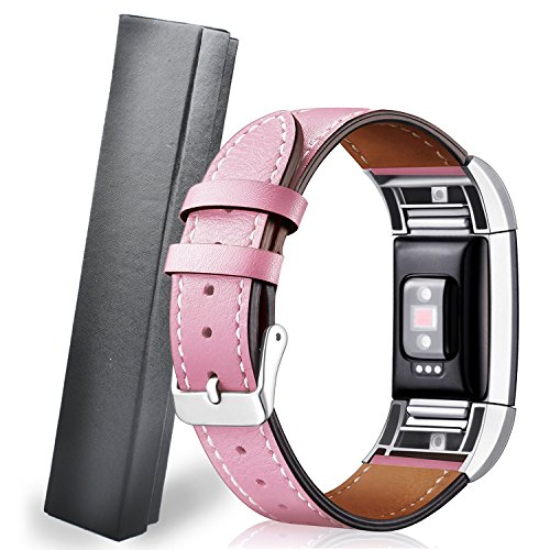 8' Slip Connector - SEVPRO For Fitbit Charge 2 Bands Leather Band Interchangeable With Stainless Frame for Men/Women - Adjustable (Pink)