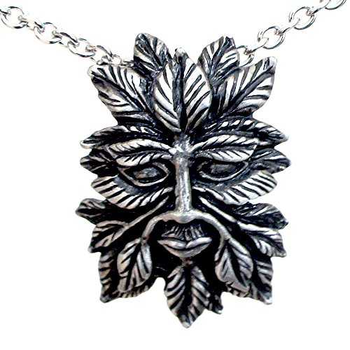 - OhDeal4U Greenman Pagan Celtic Green man silver pewter pendant w Stainless steel chain necklace (#04)