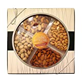 Treats & Sweets Gourmet Quality Kosher Gift Nut Platter - 4-Section Assorted Nuts, Salted, Fancy, Raw Mixed Nuts - Salted Pistachios, Fancy Mixed Nuts, Raw Almonds, Salted Cashews, Gift Basket