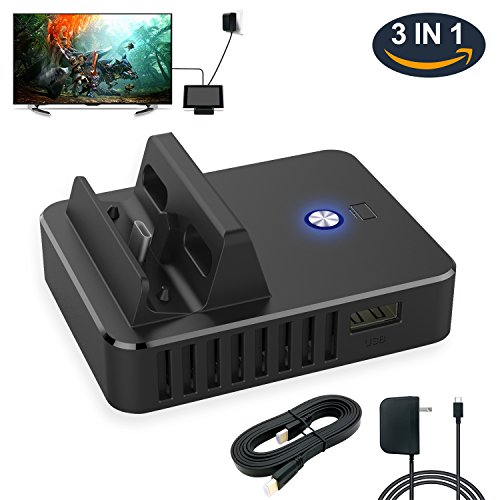 MENEEA US 3 In 1 Dock Set for Nintendo Switch, Replacement Dock Set with HDMI Cable and Power Cord for Nintendo Switch