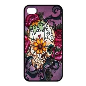 Cool Design Sugar Skull Custom Individual Fantastic TPU Case Protective Skin For Iphone 4 4s iphone4s-NY025