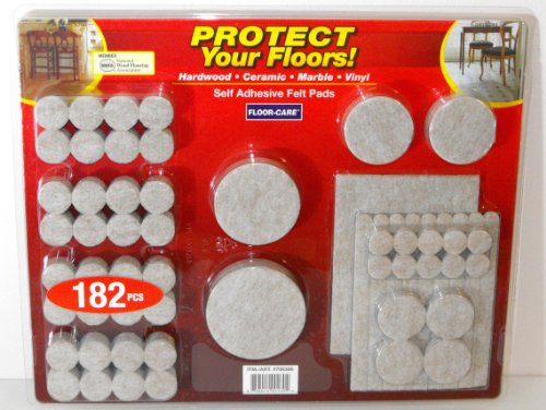 [Floor-Care 182-Piece Self Adhesive Felt Pads Kit] (76 Piece Hardwood Unit)