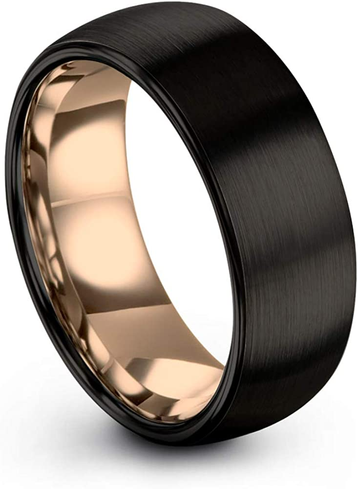 Midnight Rose Collection Tungsten Wedding Band Ring 8mm for Men Women 18k Rose Yellow Gold Plated Dome Black Brushed Polished