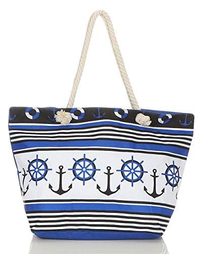Color Azul De Impresión Hombro Del De Playa Mujer Bolsa Mochila Con Rayas Malito De blanco T300 Bolso De La qxzTBwnaFA